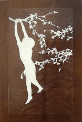 hang in there, siegfried, gesso on black walnut panel, 12 x 14, 2004