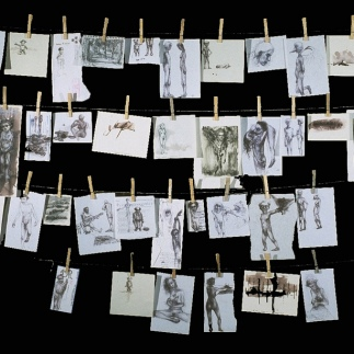 "win some/lose some, 1999, pen and ink drawings, clothespins, string, 60"" x 100"""