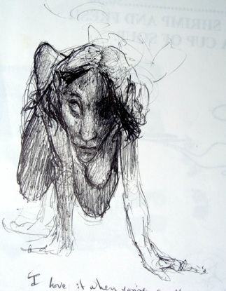 I love it when you're a mouse, ball point pen on scrap mail, 3 x 5, 1998