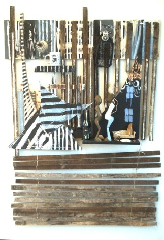 indigenous to someone, found materials, lathe, string, Nigerian sculptures, doll furniture, paint, 40 x 62, 2005