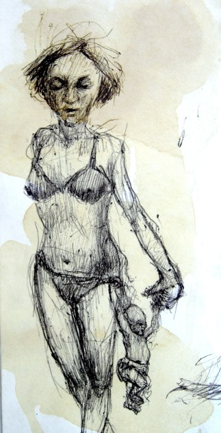 mother and child, ball-point pen on scrap mail, 2 x 5, 1998.