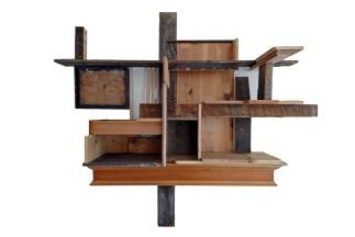 incidental wall shelf, found wood and drawer, 68 x 82, 2011