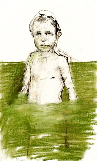 man in green pool, charcoal and pastel on paper, 12 x 16, 1999