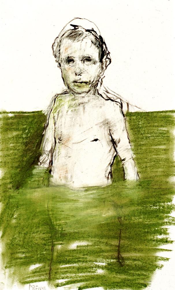 man in green pool
