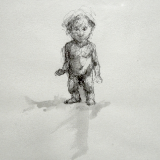 unoccupied cherub, pen and ink on paper, 4 x 6, 1998