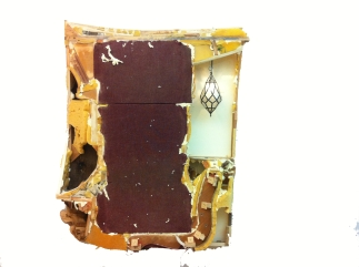 office chair remix, chair guts, wood, worry-20 hours, light fixture, electricity, spray foam, 46 x 64, 2013