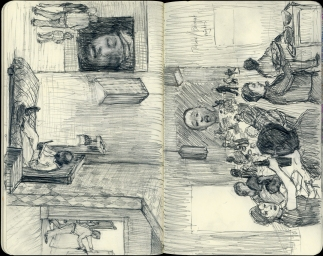 12 ballads for huguenot house concept sketch from Preus' sketchbook. 2012