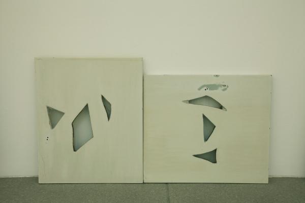 cabinet doors with broken glass inlay